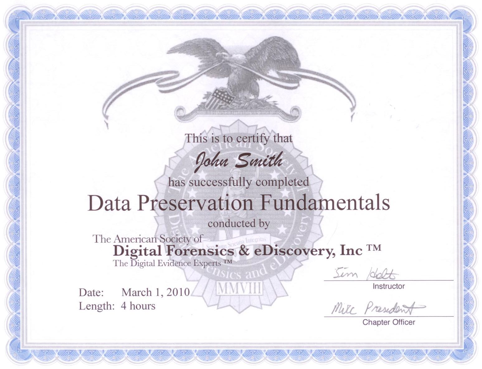 The American Society Of Digital Forensics Ediscovery Data
